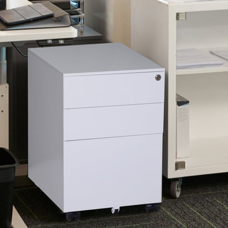 """sports shoes e3663 193a3 24"""" Metal 3 Drawer Locking Under Desk Filing Cabinet On Wheels - White"""