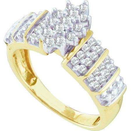 10K Yellow Gold 0.50ctw Elegant Pave Diamond Ladies Marquise Shape Cluster Ring