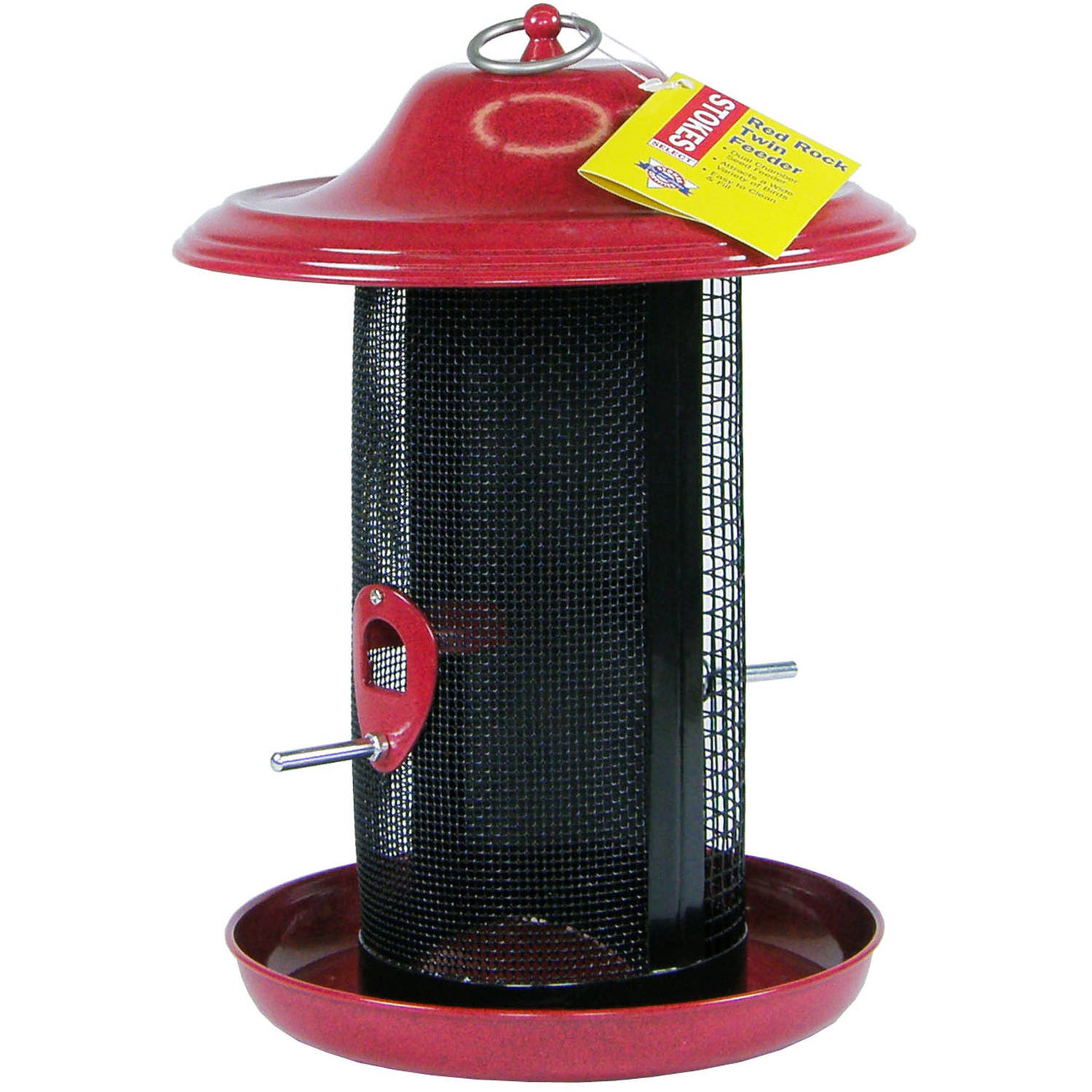 Stokes Select Red Rock Twin Chamber Bird Feeder with Metal Roof, Red, 2.4 lb Seed Capacity