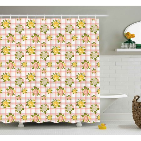 Designer Inspired Olive (Shabby Chic Shower Curtain, Flower Inspired Vector Illustration of Roses with Leaves Art Print, Fabric Bathroom Set with Hooks, 69W X 75L Inches Long, Coral and Olive Green, by Ambesonne)