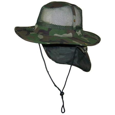 Tropic Hats Summer Wide Brim Mesh Safari Outback W Neck Flap   Snap Up Sides  - Camo XXXL - Walmart.com e8b7a76d294a