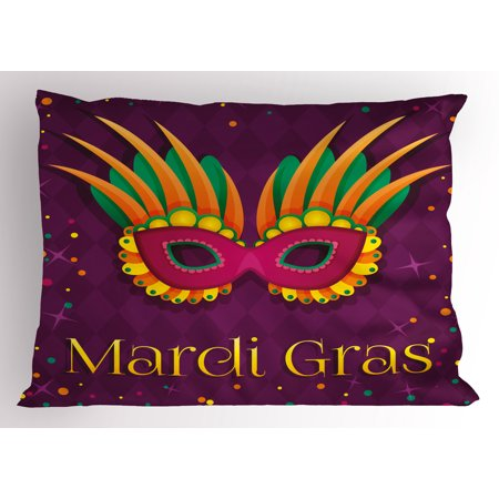 Mardi Gras Pillow Sham Festival Mask Design on Purple Backdrop with Stars and Colorful Dots, Decorative Standard King Size Printed Pillowcase, 36 X 20 Inches, Purple Orange Green, by Ambesonne (Mardi Gras Backdrop)