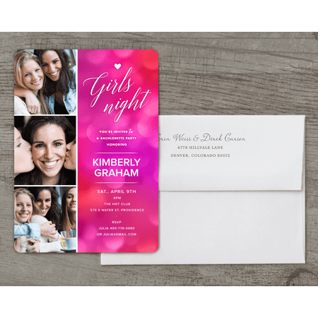 Personalized Wedding Bachelorette Party Invitation - Girls Night - 5 x 7 Flat -