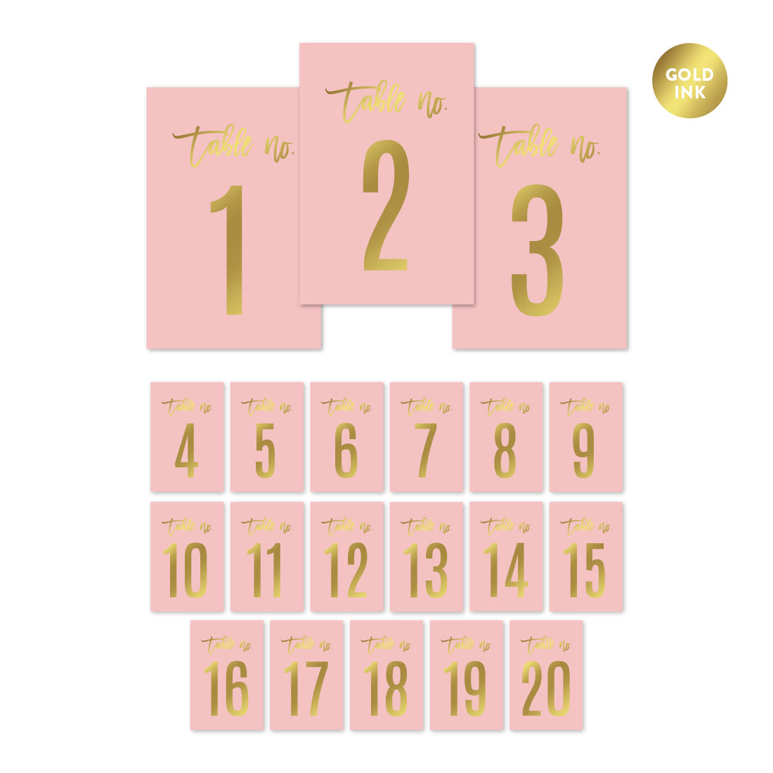 Blush Pink and Metallic Gold Confetti Polka Dots, Table Numbers 1 - 20 on Perforated Paper, Single-Sided, 4 x 6-inch