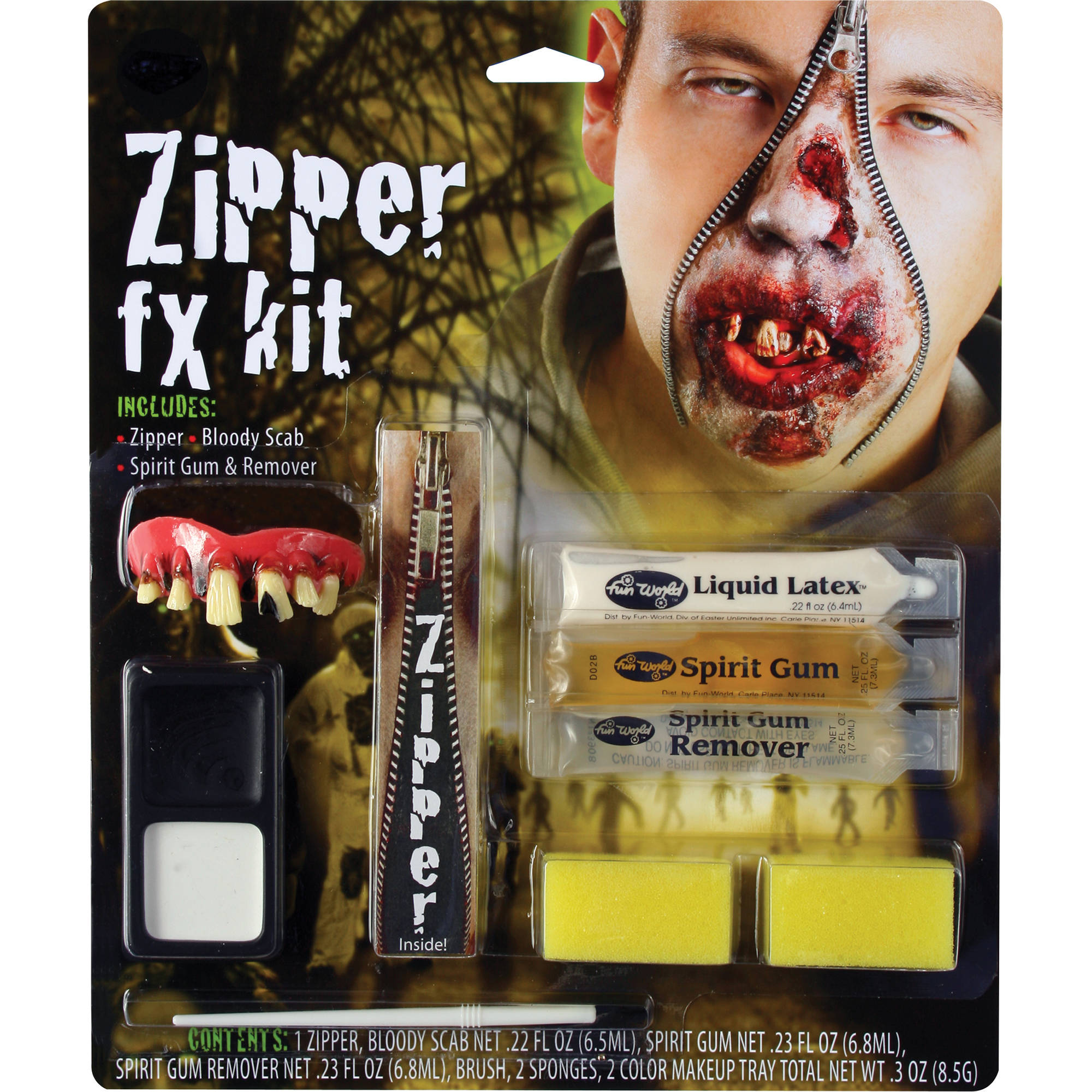 Zipper Character Zombie Makeup Kit Adult Halloween Accessory - Walmart.com