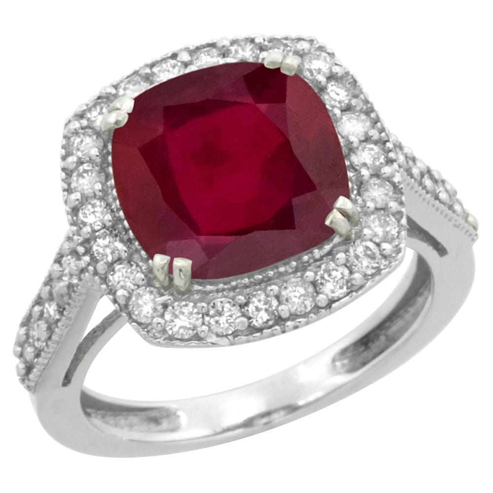 10k White Gold Diamond and Enhanced Genuine Ruby Ring Cushion-cut 9x9mm, size 5.5 by Gabriella Gold