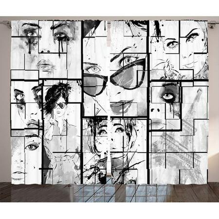Ivy Bronx Hugo Fashion House Women Faces with Different Eye Makeup Eiffel Tower Romance Paris Image Graphic Print & Text Semi-Sheer Rod Pocket Curtain Panels (Set of 2) - Ivy Sports Usa Set