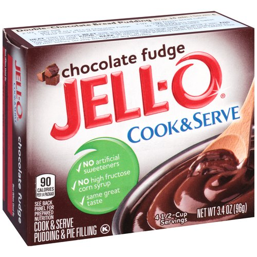 JELL-O Chocolate Fudge Cook & Serve Pudding & Pie Filling, 3.4 oz