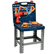 Playkidz Construction Workbench for Kids  Portable Boys & Girls Toy Playset Includes Working Electric Power Drill, Travel Carry Case & 45+ Tools & Accessories to Build a Realistic Workbench  Ages 3+