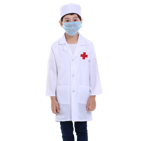 TopTie Children White Lab Coat Kids Doctor Role Play Costume-White-4 - White Doctor's Coat