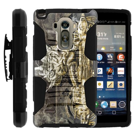 TurtleArmor ® | For LG G Stylo LS770, H631, MS631 | LG G4 Stylus | LG Stylus [Hyper Shock] Hybrid Dual Layer Armor Holster Belt Clip Case Kickstand - Steampunk Machine (Steampunk Suit)