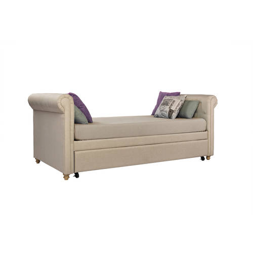 dhp sophia linen upholstered daybed and trundle tan image 3 of 8