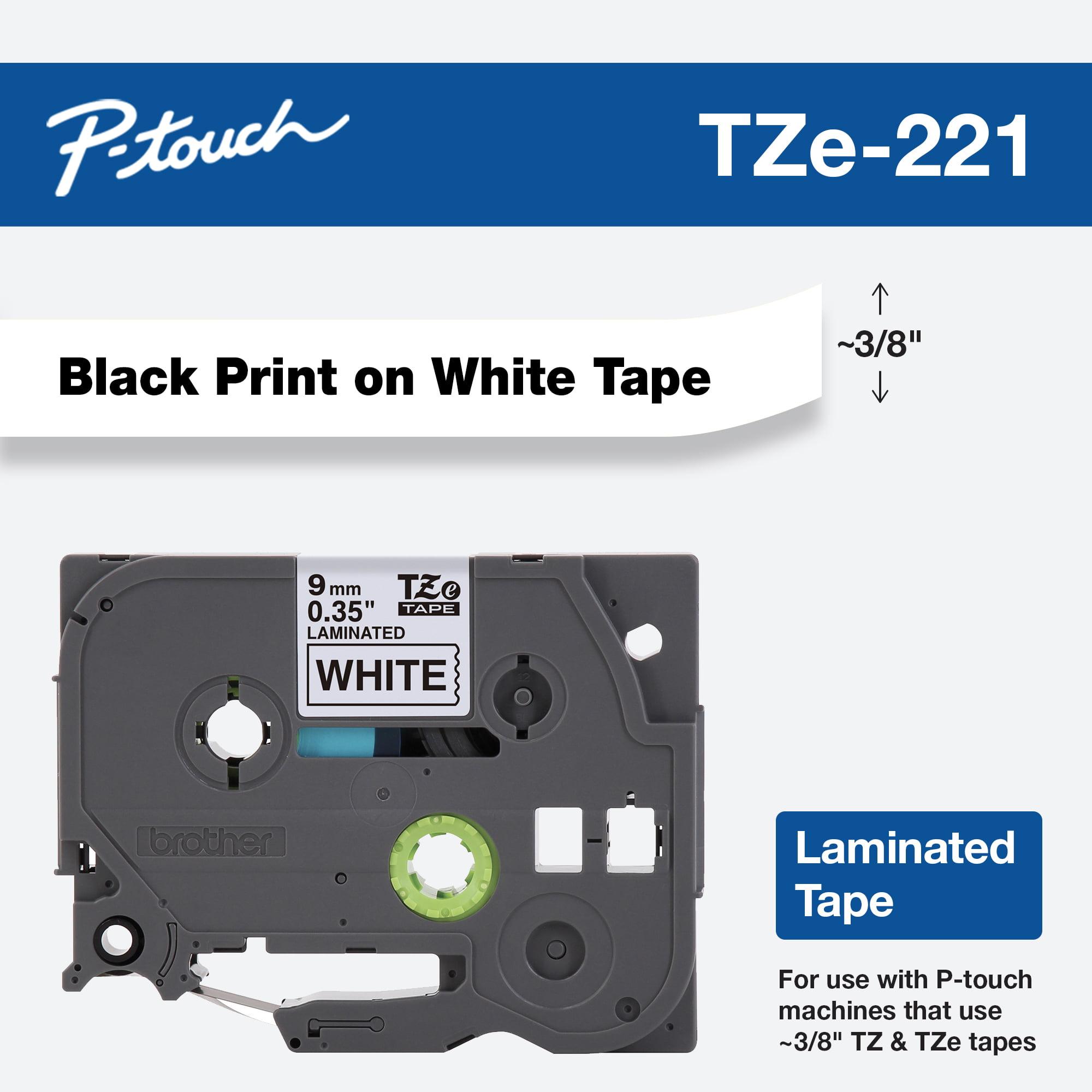 "1PK 0.35/"" Black on White Label Tape For Brother TZ-221 P-Touch PT-2730 PT-D600"