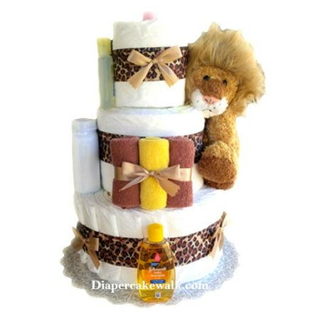Cuddly Lion Mini Diaper Cake](Baby Shower Diaper Cake)