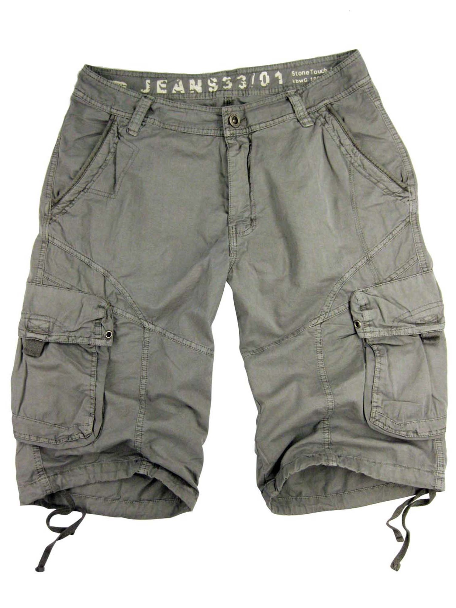 Mens Military-style Cargo Pocket Shorts, Plus size, L.Grey Color, #27sG-L.GY sizes:52