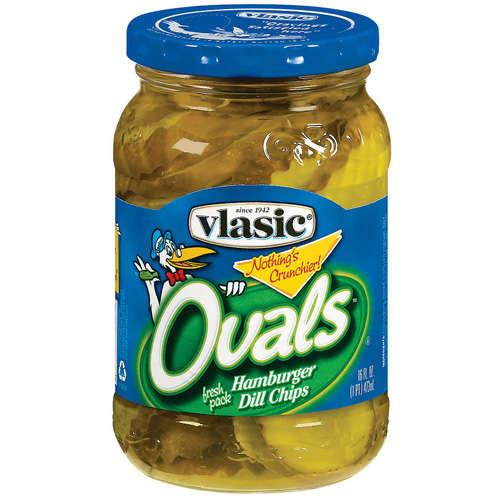Vlasic Ovals Hamburger Dill Chips Pickles 16 Fl Oz Jar