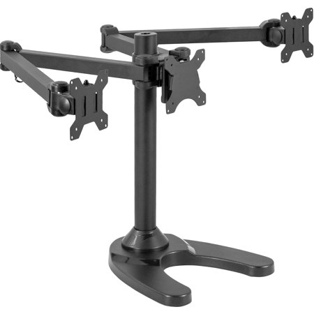 VIVO Triple Monitor Free Standing Desk Mount | Heavy Duty Fully Adjustable Stand for 3 Screens up to 32