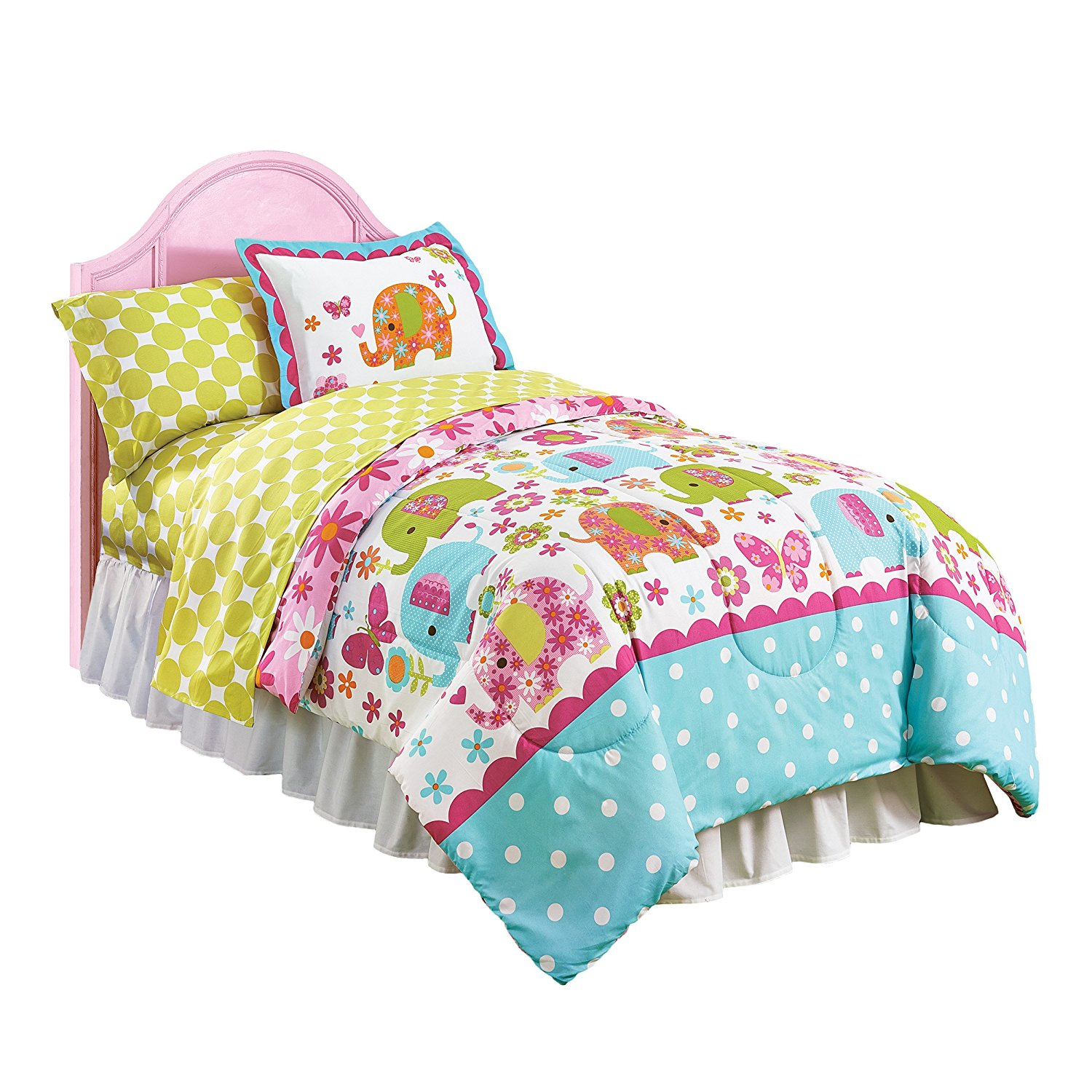 Just For Kids Green Dot Twin Sheet Set