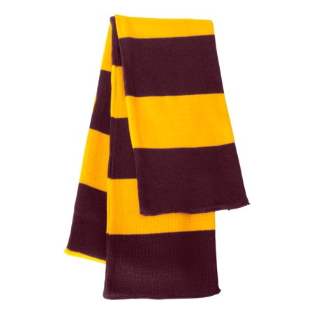 Sportsman - Rugby Striped Knit Scarf (Black And Gray Striped Scarf)