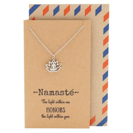 Namaste Lotus Pose Necklace, Yoga Pendant Birthday Gift Ideas for Mom, Girl, Teen, Women, Namaste Flower Necklaces with Inspirational Quotes Gift Card ()