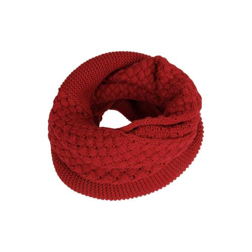 BMC 2 Stitch Design Red Color Womens Warm Infinity Loop Crochet Knitted Scarf