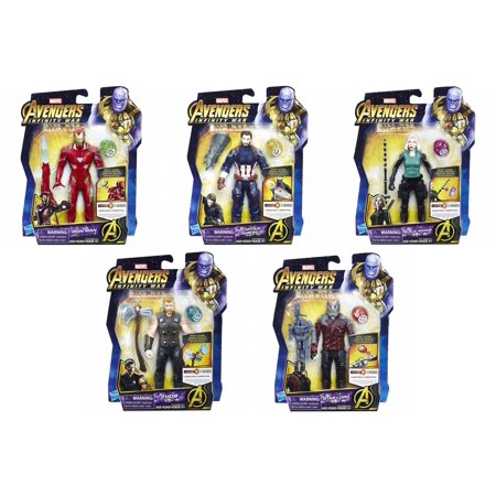 Marvel Avengers: Infinity War Iron Man, Cap. America, Black Widow, Thor & Starlord Set of 5 Action Figures [with Stones]](Black Widow Marvel Outfit)
