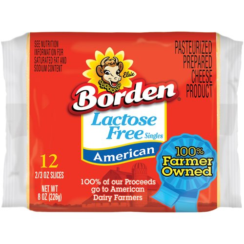 Borden Lactose Free Singles American Cheese Slices, 0.66 oz, 12 count