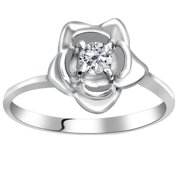 Orchid Jewelry Mfg Inc Orchid Jewelry 0.32 Carat White Topaz Solitaire Flower 925 Sterling Silver Ring