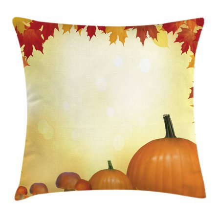Harvest Throw Pillow Cushion Cover, Mushrooms and Pumpkins with Autumn Tree Leaves Framework Bokeh Effect, Decorative Square Accent Pillow Case, 16 X 16 Inches, Pale Yellow Orange Red, by Ambesonne - Pumpkin With Leaves