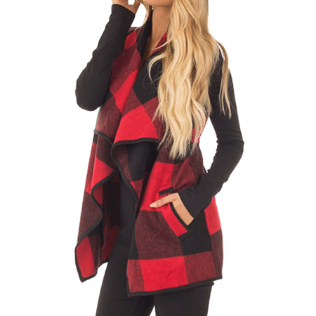 Plaid Reversible Vest (Clothes for Women on Clearance, Long Outwear Sleeveless Blouse Coat for Women, Red / Khaki / Black Lapel Open Front Plaid Vest Cardigan with Pockets,)