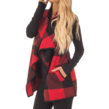 Red / Khaki / Black Long Outwear Sleeveless Blouse Coat for Women, Women's Lapel Open Front Plaid Vest Cardigan with Pockets, S-XL