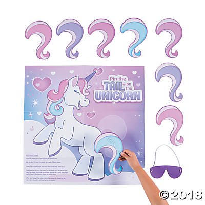 Pin the Tail on the Unicorn Game for 2 to 8 Players - Pin The Horn On The Unicorn