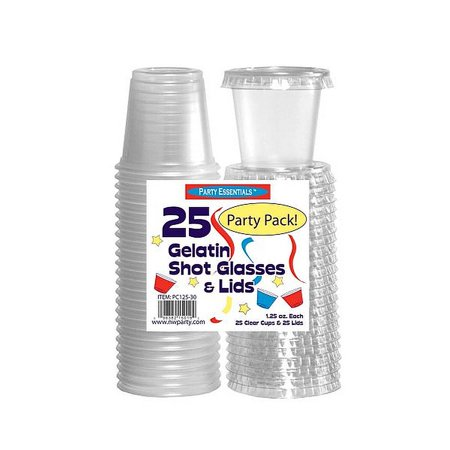 1 - Party Essentials 1.25 Oz. Jello Shot Glasses w/ Lids - Clear 25 Ct.](Halloween Jello Shots And Drinks)