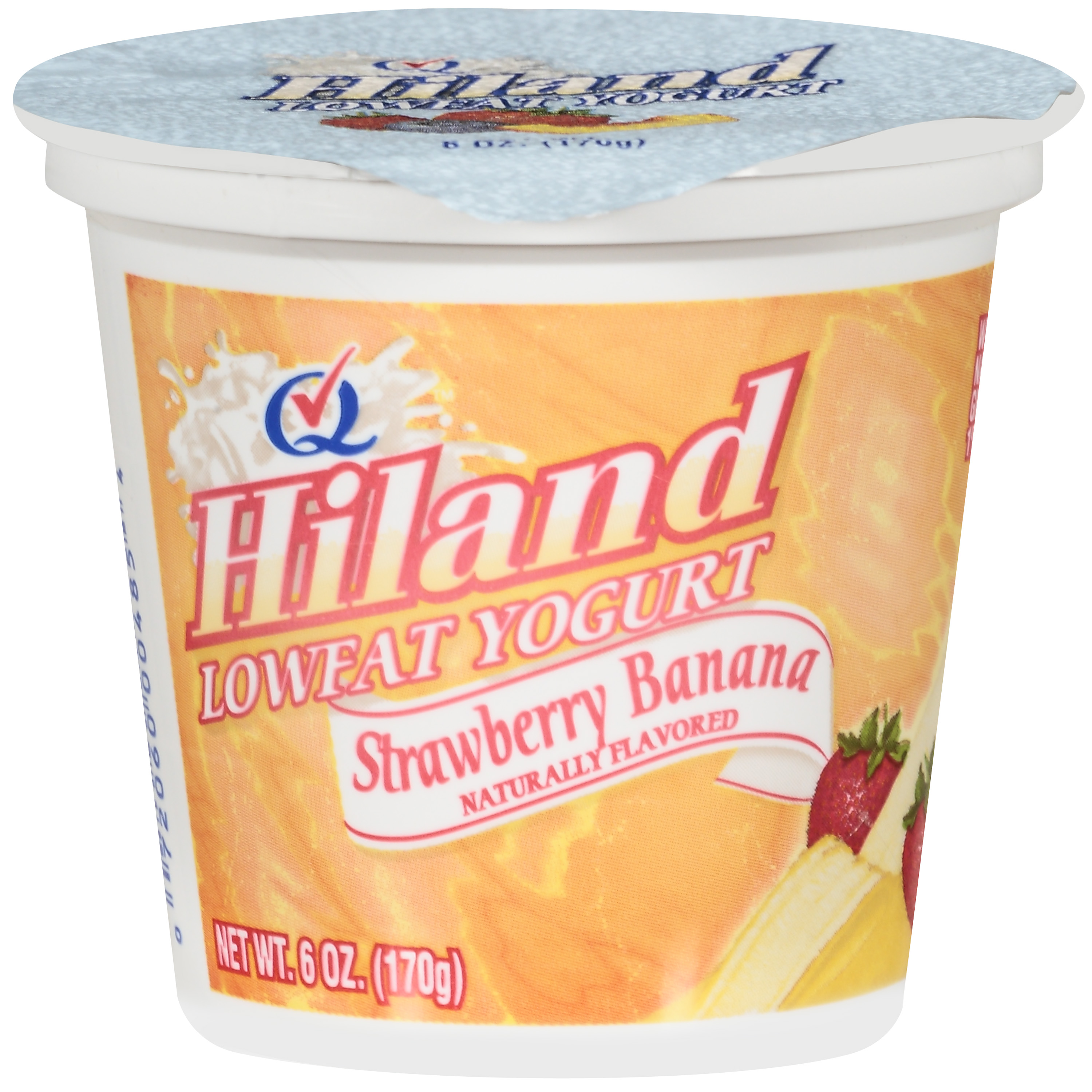 Hiland Lowfat Strawberry Banana Yogurt, 6 oz