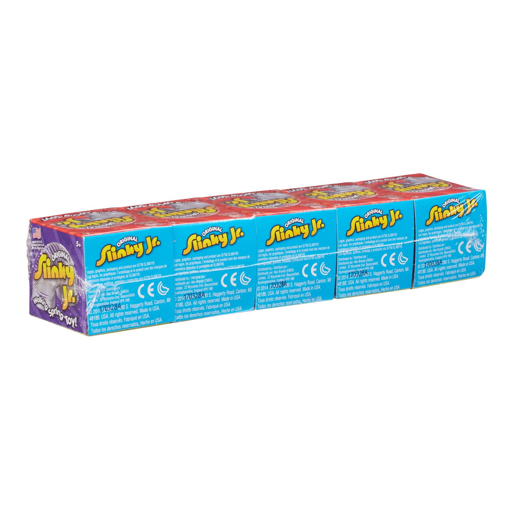 metal original slinky jr in box 5 pack silver poof slinky alex