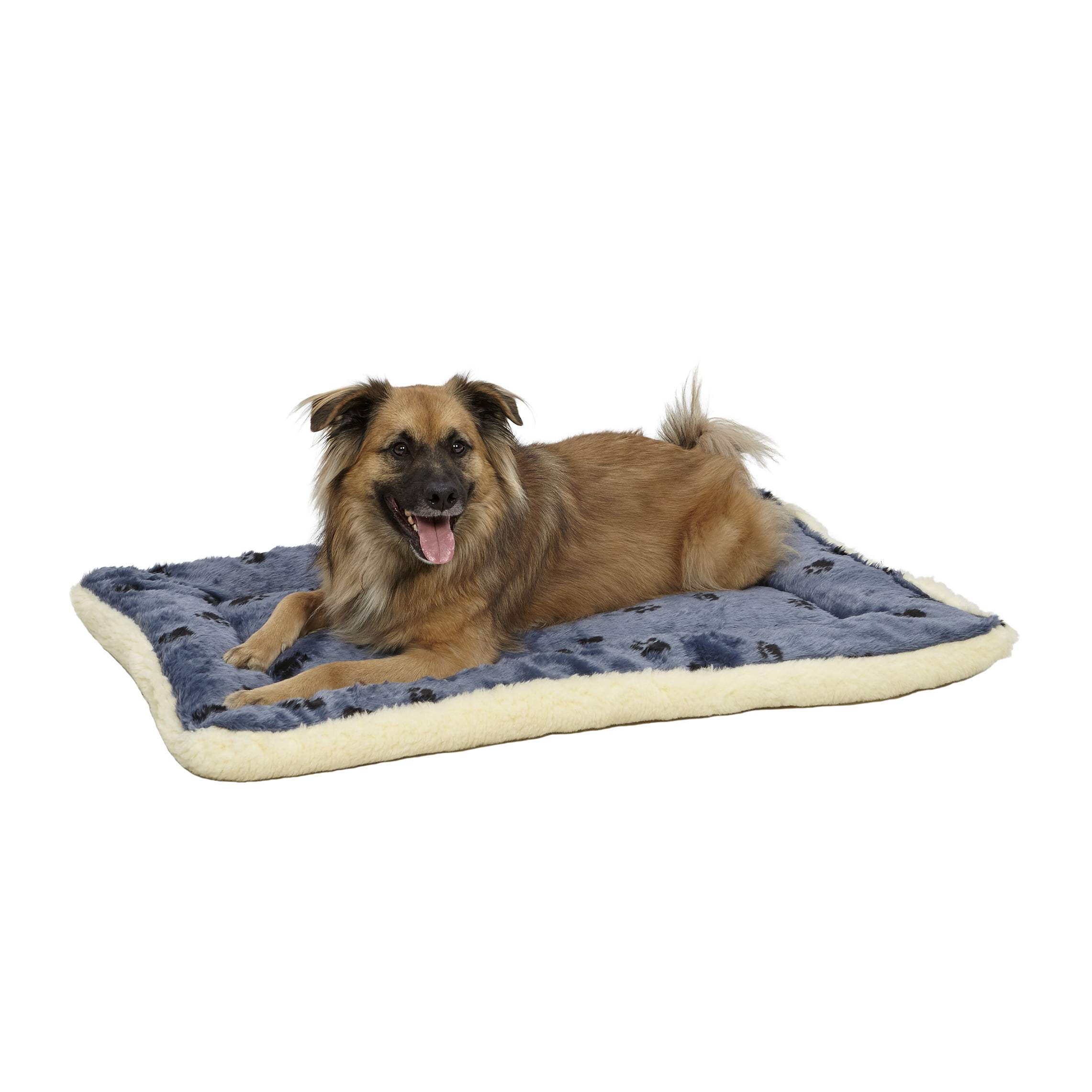 MidWest Fleece Blue Paw Print Reversible Dog Bed 36""