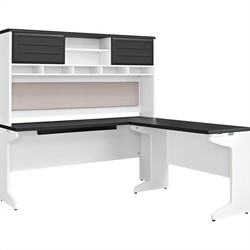 Ameriwood Home Pursuit L-Shaped Desk with Hutch Bundle, Gray
