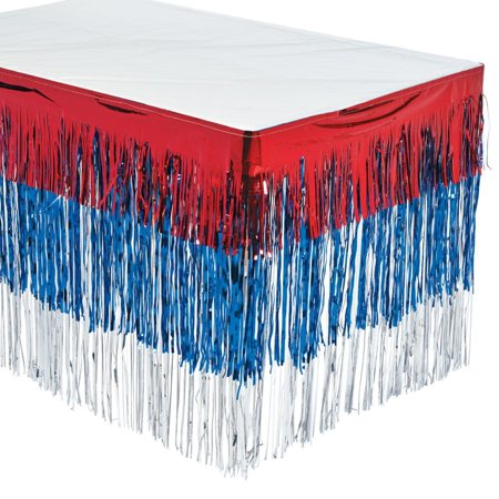Halloween Party 4th Street Live (Fun Express - Patriotic Fringe Tableskirt for Fourth of July - Party Supplies - Table Covers - Table Skirts - Fourth of July - 1)