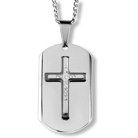 Black Plated Two Tone Stainless Steel Crystal Cross Dog Tag Pendant