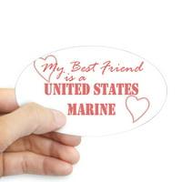 CafePress - MY BEST FRIEND / USMC - Sticker (Oval)