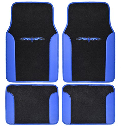 A Set of 4 Universal Fit Plush Carpet with Vinyl Trim Floor Mats For Cars   Trucks Tribal Blue by LavoHome
