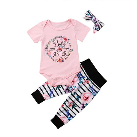 Newborn Baby Girls Floral Tops Romper Pants 3Pcs Outfits Set Clothes 0-3