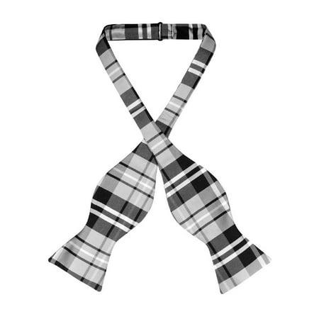 Vesuvio Napoli SELF TIE BowTie Black Gray White Color PLAID Design Men