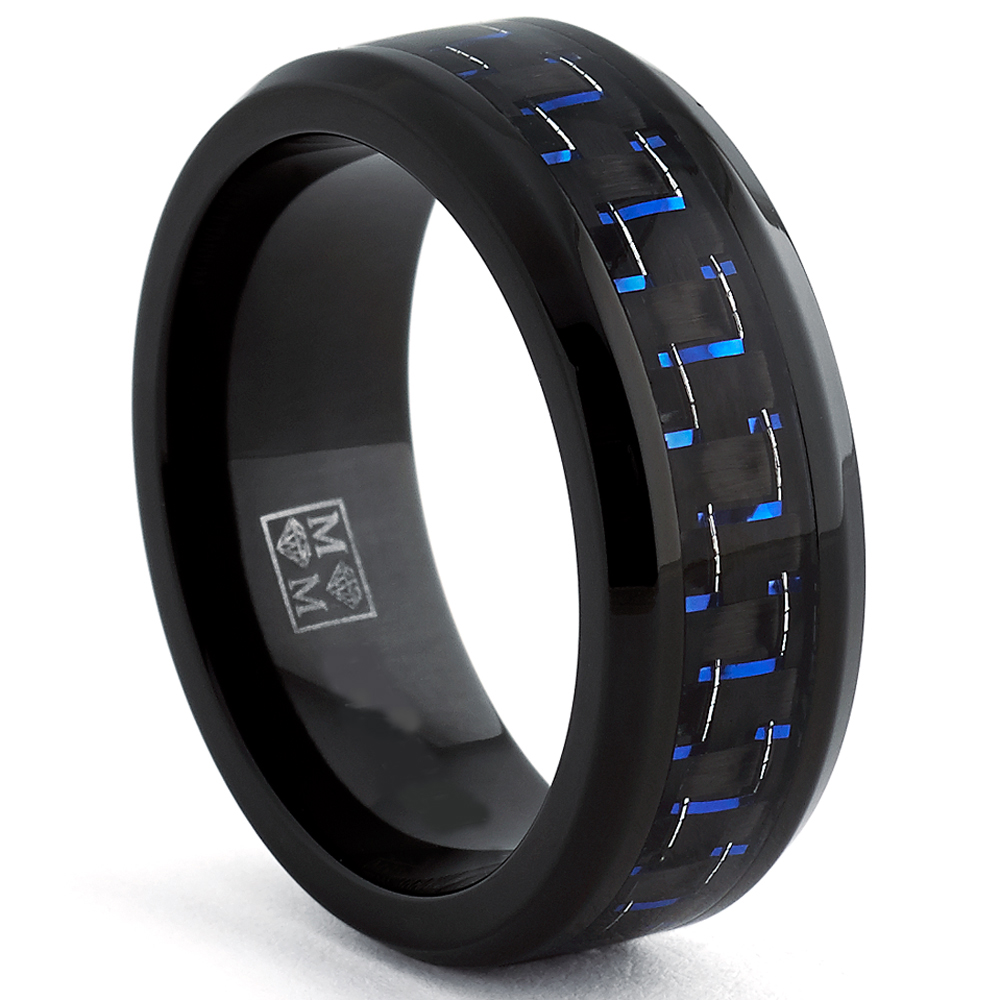 Black Titanium Wedding Band Ring with Black and Blue Carbon Fiber inlay, Comfort fit 8mm, Sizes 6 to 15