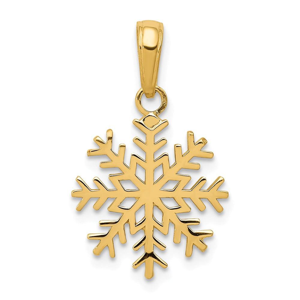 14k Yellow Gold 3-D Snowflake Pendant