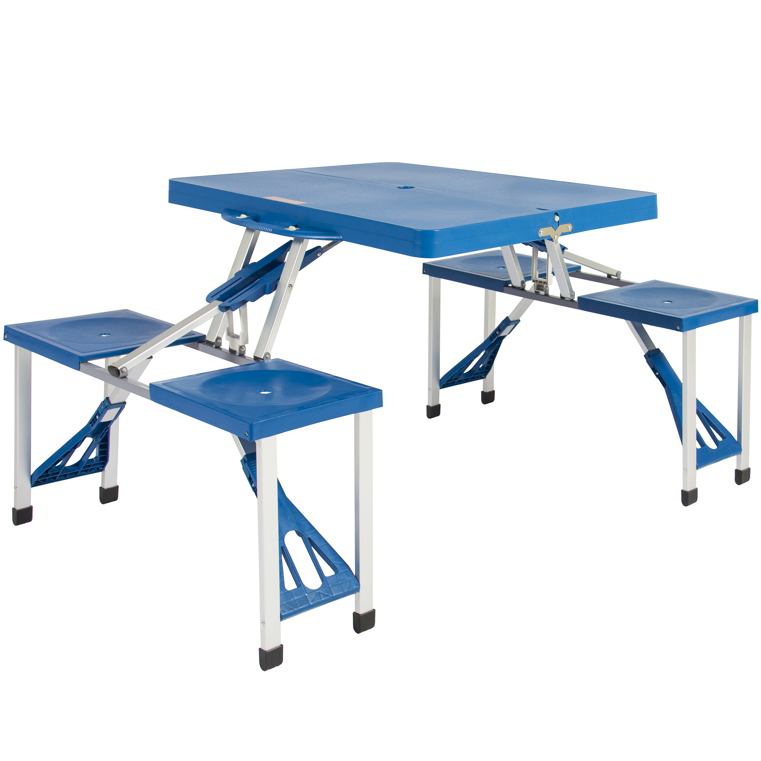 Best Choice Products 4 Seat Outdoor Portable Plastic Folding Table For Picnics Camping W Umbrella Holder Blue