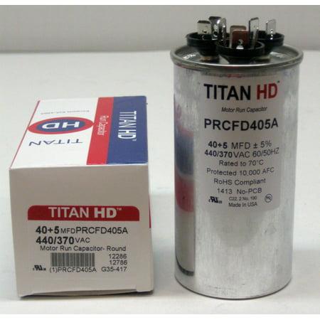TitanHD PRCFD405A American-Made HVAC Round Motor Run Dual Capacitor. 40/5 MFD/UF 440 (Round Capacitor)