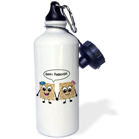 (3dRose Happy Passover - Cute Smiley Matzah cartoon - Happy Smiling Matzot for Pesach - Jewish Holiday gifts, Sports Water Bottle, 21oz)