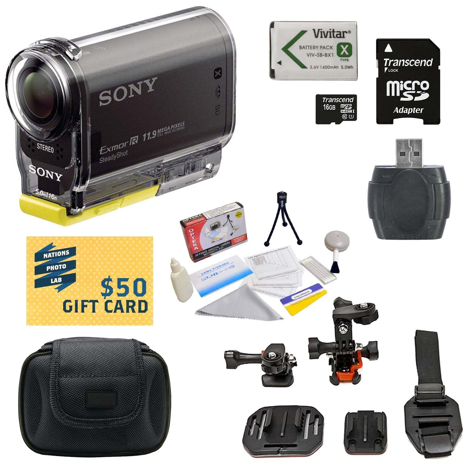 Sony HDR-AS30V HD Action Camcorder with 16GB Micro SD Card, Card Reader, High Capacity Li-ion Battery, Hard Shell Carrying Case, All-in-1 Helmet Kit, Lens Cleaning Kit, $50 Gift Card
