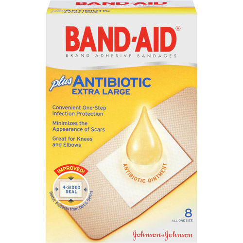 Band-Aid Brand Adhesive Bandages Plus Antibiotic, Extra Large, 8 Count